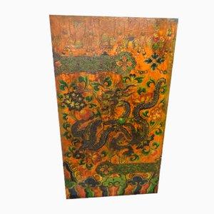 20th Century Tibetan Red & Green Polychrome Wood Door