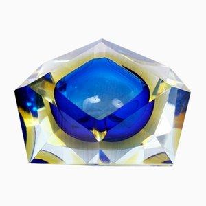 Blue Diamond Murano Glass Ashtray from Seguso