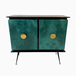 Italian Mid-Century Green Parchment and Gold Mirror Bar Cabinet, 1950s