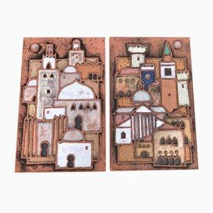 Ceramic 'Town on the Adriatic' Tiles by Dietmar Liedke for Karlsruher Majolika, Set of 2
