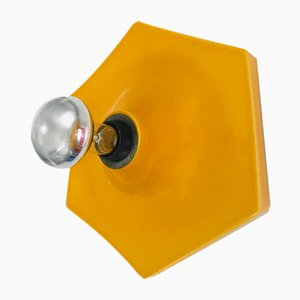Vintage Yellow Porcelain Wall Lamp, 1970s