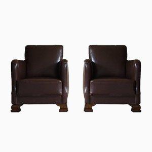 20th Century Danish Art Deco Leather Club Chairs, 1940s, Set of 2
