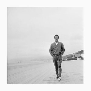 Paul Newman on the Beach Silver Gelatin Resin Print Framed in White by Hulton Archive