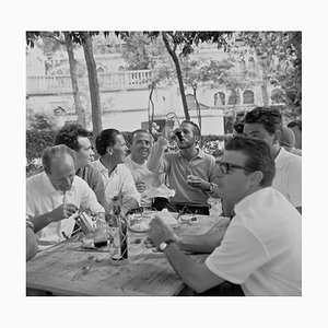 Lunch with Paul Newman Archival Pigment Print Framed in White