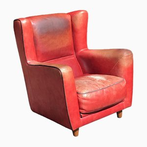 Vintage Italian Red Bull Leather Bergere Armchair, 1970s