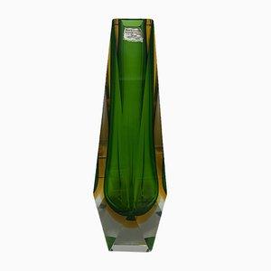 Mid-Century Green and Yellow Murano Glass Vase by Alessandro Mandruzzato, 1960s