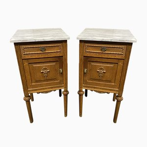French Marble Nightstands, Set of 2