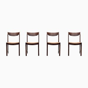 Dutch Rattan Wengé Dining Chairs, 1960s, Set of 4