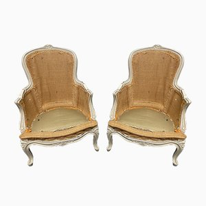 French Bergere Armchairs, Set of 2