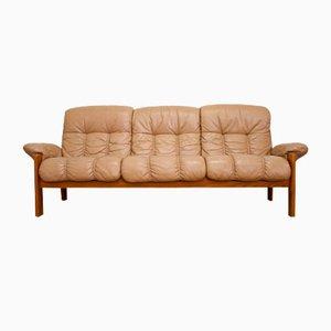 Mid-Century Teak & Leather Sofa by Ekornes for Stressless, 1970s