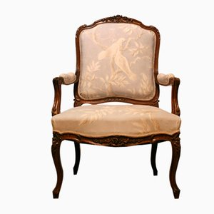 French Louis XVI Style Wood & Linen Armchair