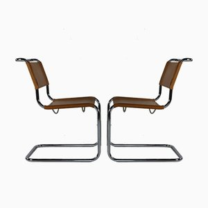 Leather Cantilever Chairs by Marcel Breuer for Thonet, Set of 2