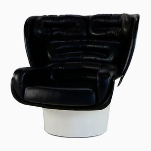 Black and White Elda Chair by Joe Colombo for Comfort Italy