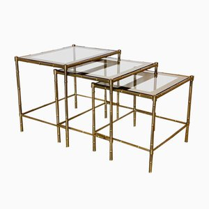 Triptych of Brass Tables in Faux Bamboo, 1970s, Set of 3