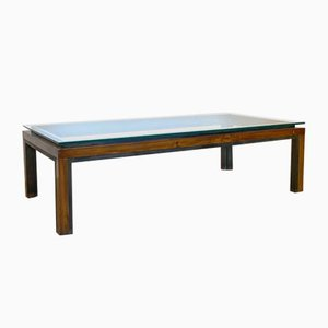 Coffee Table in Wood and Brass, 1970s