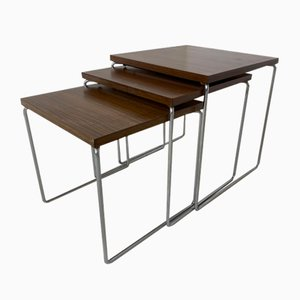 Mid-Century Modern Teak and Steel Nesting Side Tables from Brabantia, 1960s, Set of 3