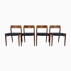 Danish Model 75 Teak Chairs by Niels Otto Møller for JL Møller, Set of 4, 1960s