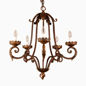 French Art Deco Wrought Iron Chandelier by Jacques Adnet
