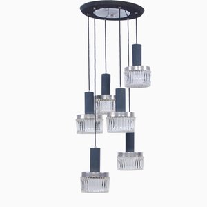 Vintage Ceiling Lamp with 6 Glass Pendants from Targetti Sankey