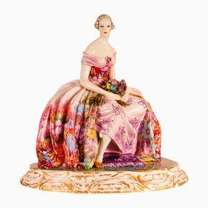Large Mid-Century Italian Art Deco Ceramic Porcelain Figurine