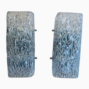 Gewellte Glas Wandlampen von JT Kalmar, 1960er, 2er Set