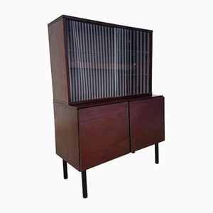 Mid-Century Glass Wall Shelving Cabinet from Beaver & Tapley