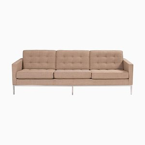 Beige Fabric Three Seater Sofa by Florence Knoll for Knoll