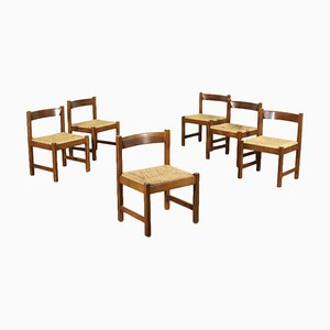 Sic Chairs Beech Raffia Chairs by Giovanni Michelucci for Poltronova, 1960s, Set of 6