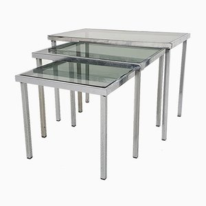Mid-Century Chrome and Glass Nesting Tables, 1970s, Set of 3