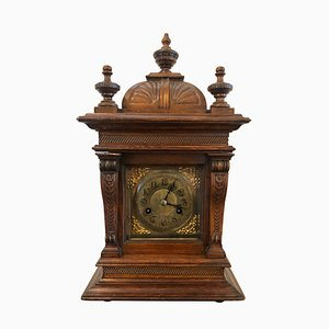 Large Antique Carved Walnut Brass Face Eight Day Bracket Clock