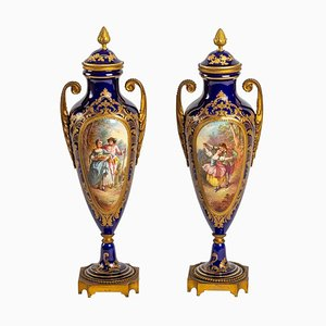Blue Porcelain Vases, Set of 2
