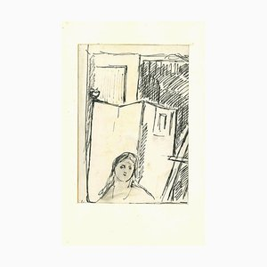 Herta Hausmann, Figure in an Interior, Pen Drawing, Mid-20th Century