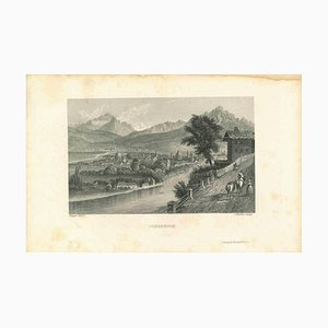 Unknown, Ancient View of Innsbruck, Lithograph, Mid-19th Century
