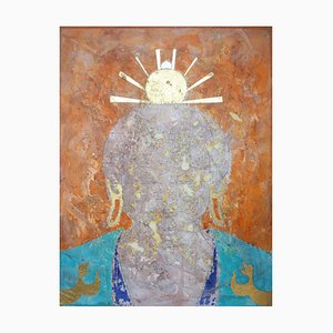 Saffron Effulgence, Contemporary Buddha Oil Painting with Gold Leaf by Sax Berlin, 2016