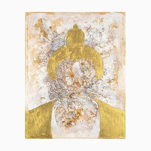 Golden Buddha: Oil and Gold Leaf on Canvas by Sax Berlin, 2013