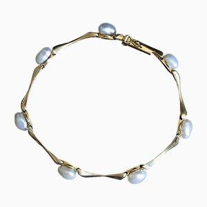 Vintage 14K Gold Pearl Bracelet, 1970s