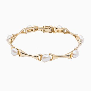 Vintage Gold Bracelet with Pearls 14k, 1970s