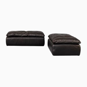Black Leather Poufs from Walter Knoll, 1980s, Set of 2