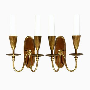 2-Light Wall Lamps in Brass, Italy, 1950s, Set of 2