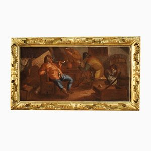 17th Century Flemish Tavern Scene Painting