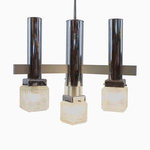4-Leuchten Kronleuchter mit Pulegoso Glaswürfeln im Stil von Sciolari, 1970er