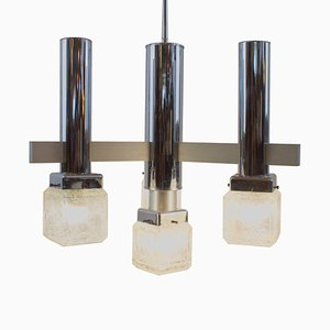 4-Light Chandelier with Pulegoso Glass Cubes in the Style of Sciolari, 1970s