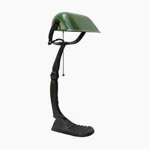 Vintage Green Enamel Bankers Table Lamp