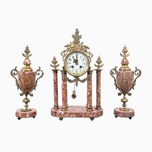 Antique French Marble Clock, 1900s, Set of 3
