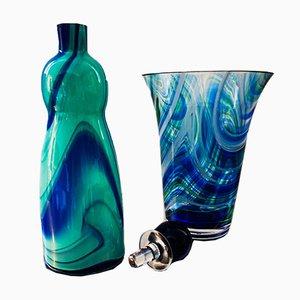 Blown Murano Glass Vase & Bottle by Carlo Moretti, 1980s, Set of 2