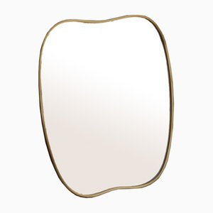 Shaped Mirror in Brass, Italy, 1950s