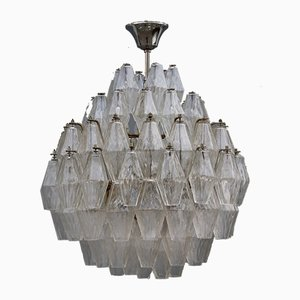 Round Poliedro Chandelier in Transparent Glass from Venini, Italy, 1950s