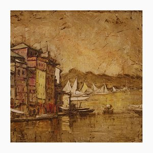 Italian Landscape Painting View of Portofino