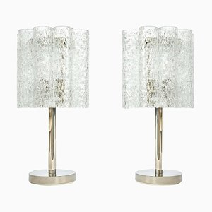 German Murano and Chrome Table Lamps from Doria Leuchten, 1970s, Set of 2