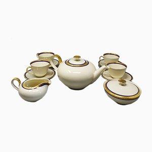 German White, Blue and Gold Porcelain Tea Set/Coffee Set, 1950s, Set of 11